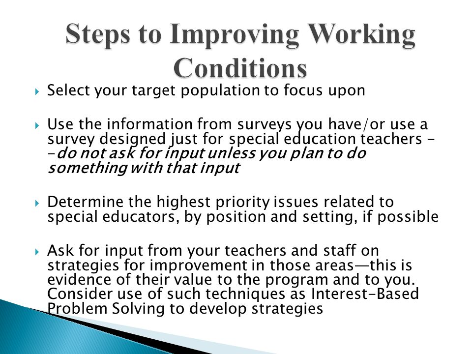 Steps to Improving Working Conditions