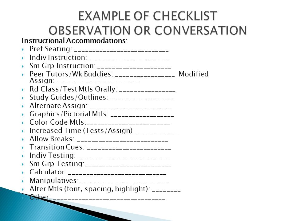 EXAMPLE OF CHECKLIST OBSERVATION OR CONVERSATION