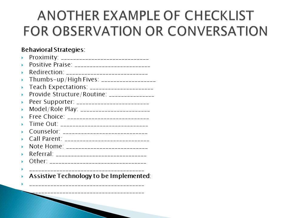 ANOTHER EXAMPLE OF CHECKLIST FOR OBSERVATION OR CONVERSATION