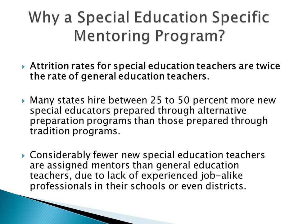 Why a Special Education Specific Mentoring Program
