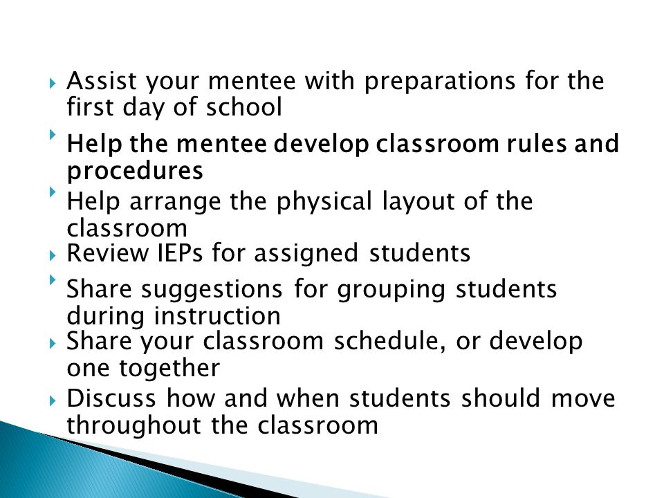 Assist your mentee with preparations for the first day of school