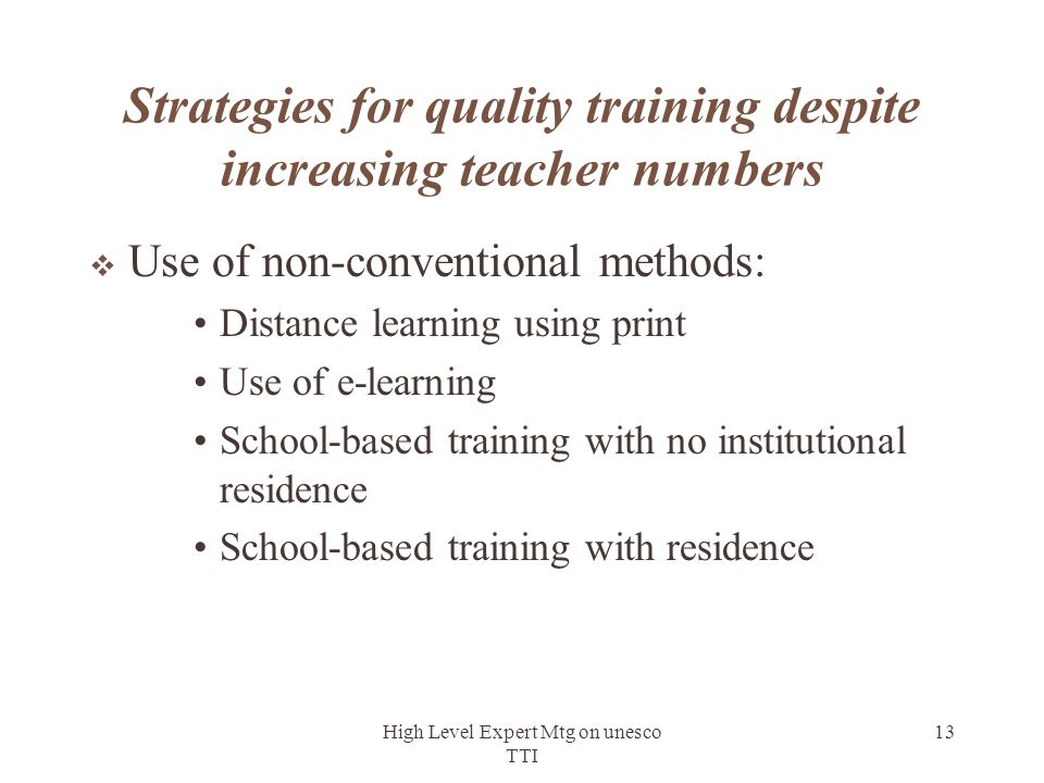 Strategies for quality training despite increasing teacher numbers