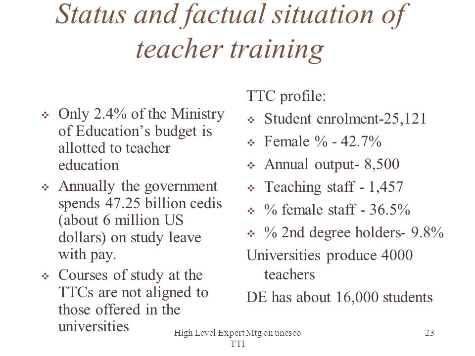 Status and factual situation of teacher training