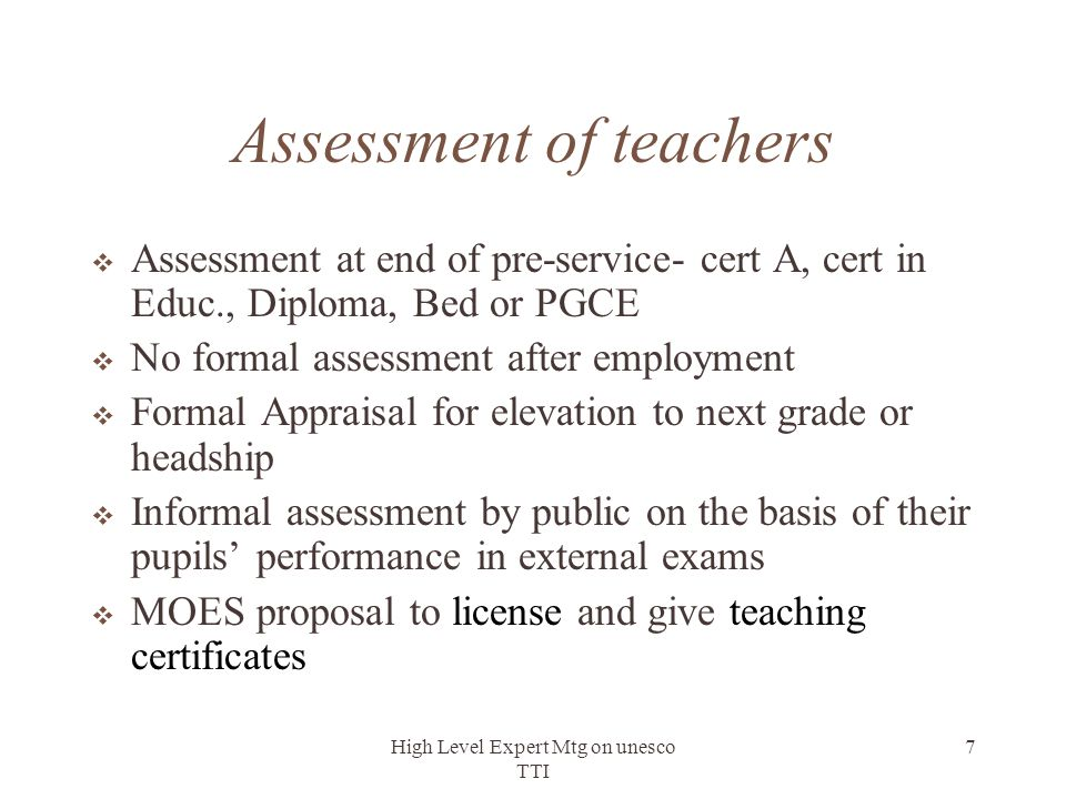 Assessment of teachers