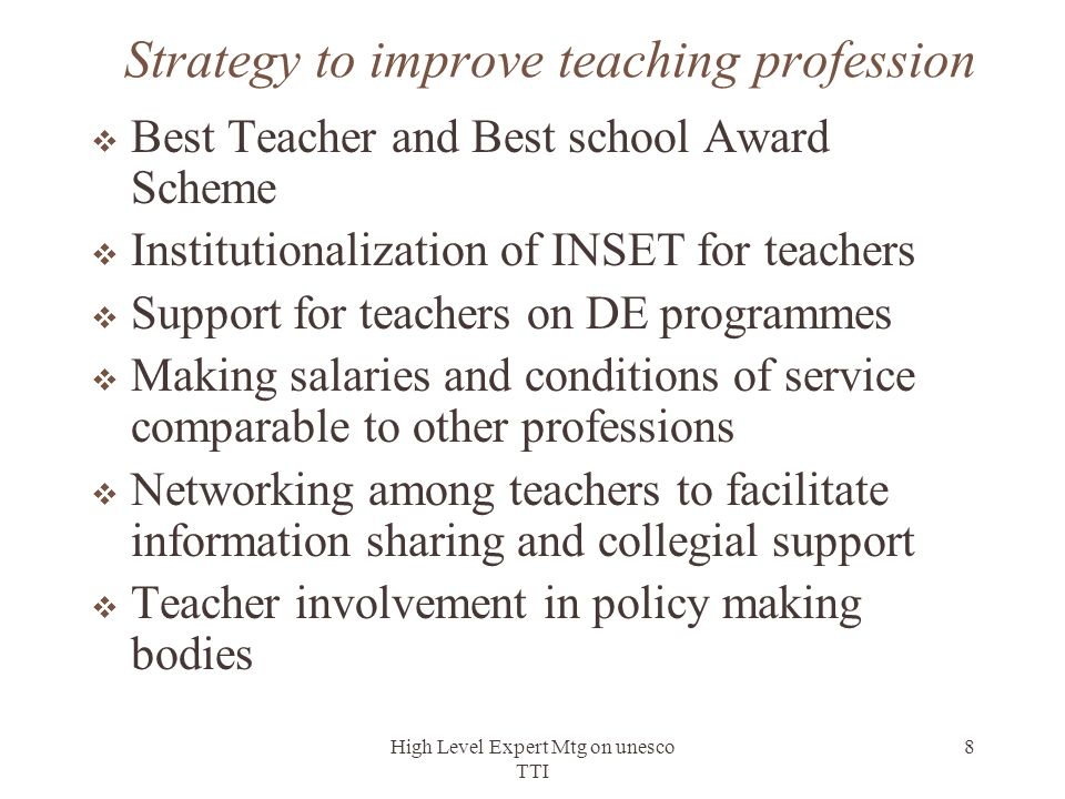 Strategy to improve teaching profession