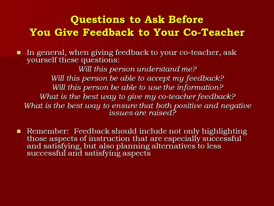 Questions to Ask Before You Give Feedback to Your Co-Teacher