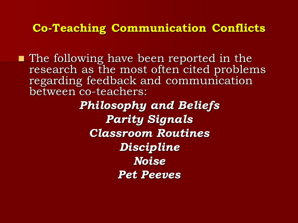 Co-Teaching Communication Conflicts
