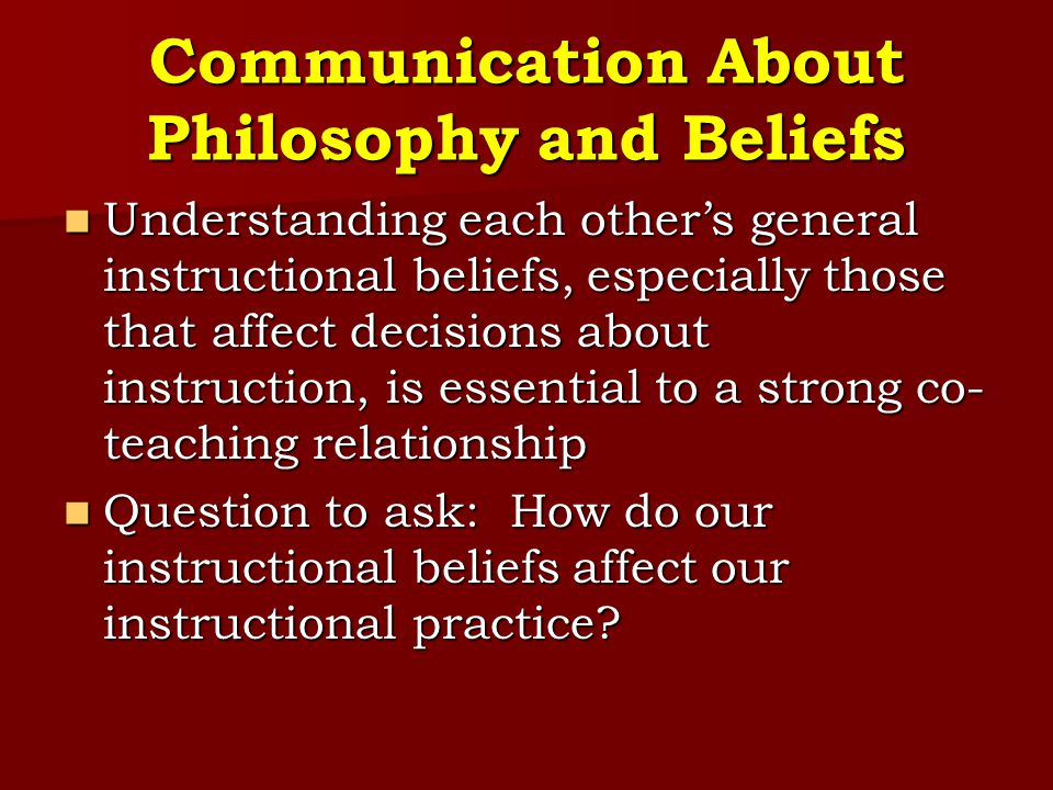 Communication About Philosophy and Beliefs