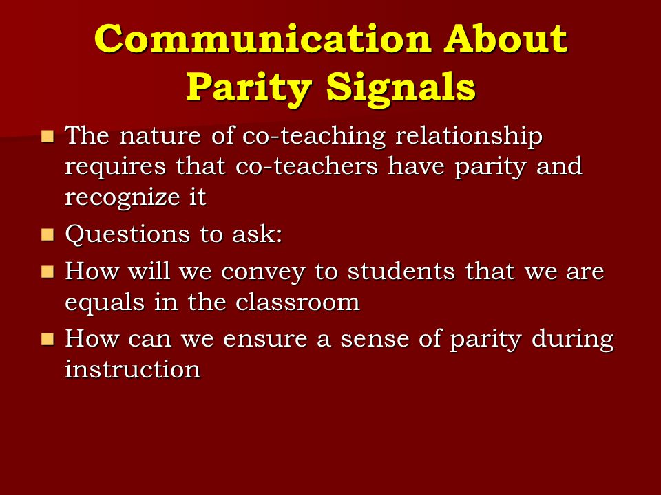 Communication About Parity Signals