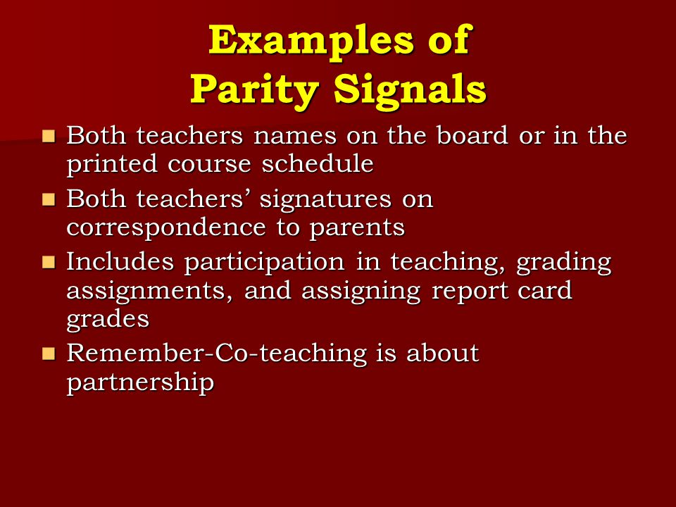 Examples of Parity Signals