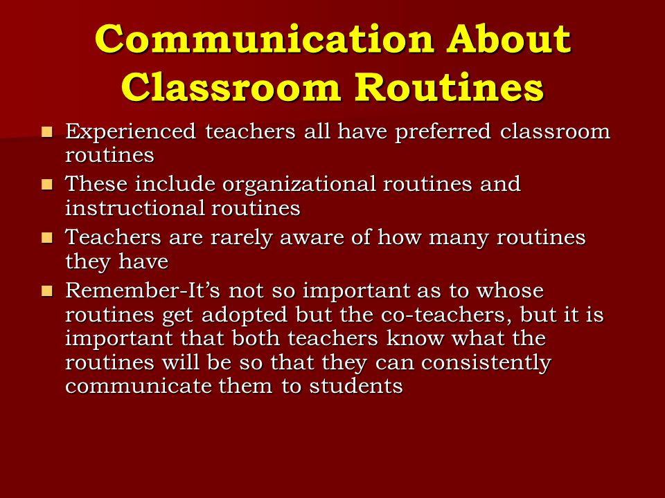 Communication About Classroom Routines
