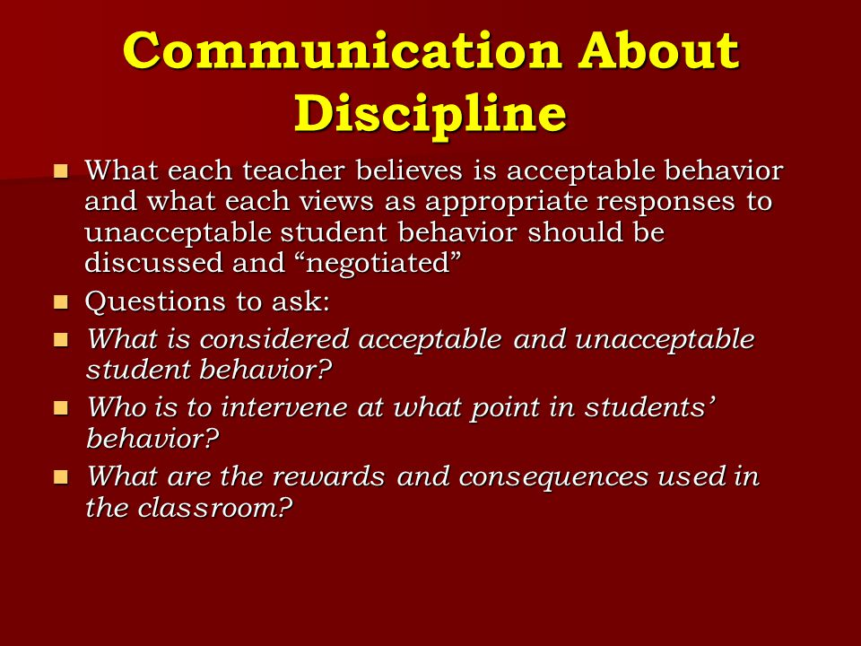 Communication About Discipline