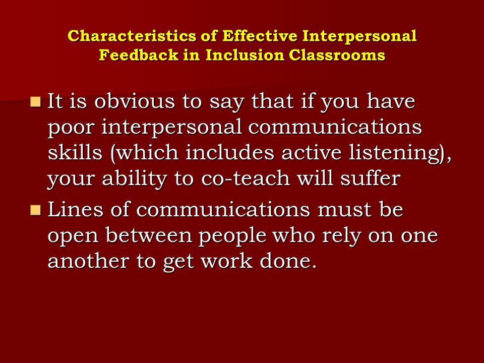 Characteristics of Effective Interpersonal Feedback in Inclusion Classrooms