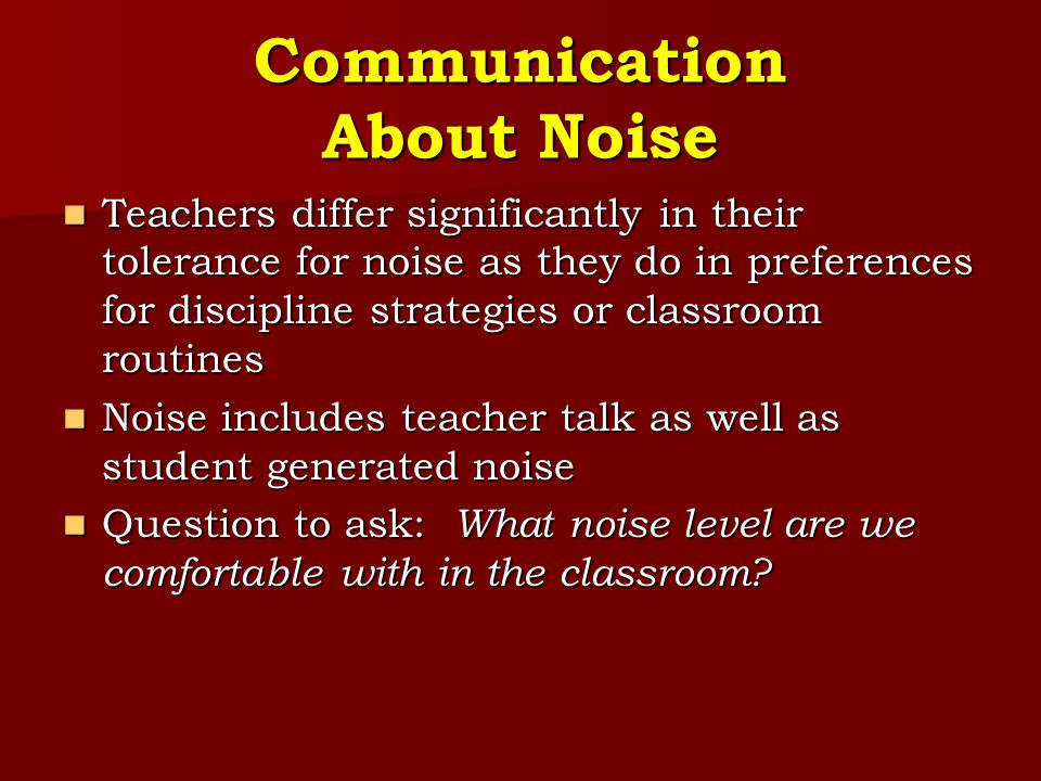 Communication About Noise