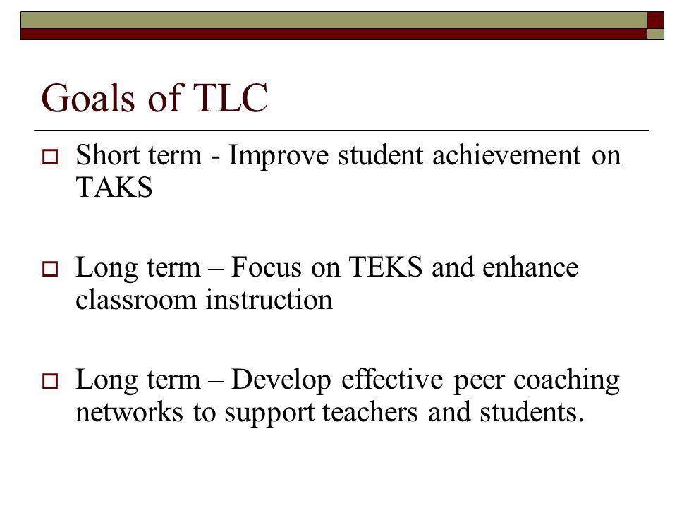 Goals of TLC Short term - Improve student achievement on TAKS
