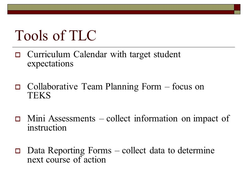 Tools of TLC Curriculum Calendar with target student expectations