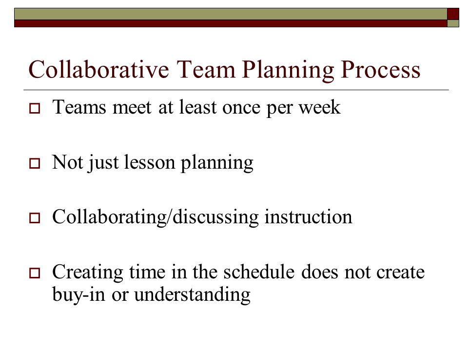 Collaborative Team Planning Process