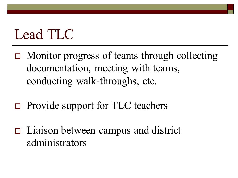 Lead TLC Monitor progress of teams through collecting documentation, meeting with teams, conducting walk-throughs, etc.