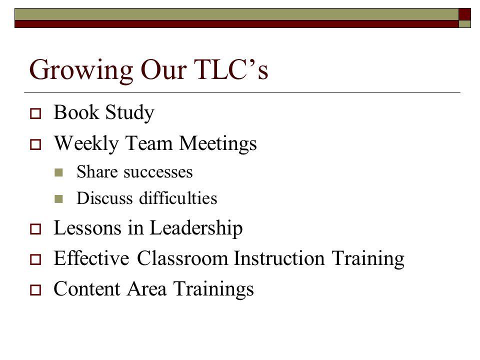 Growing Our TLC's Book Study Weekly Team Meetings
