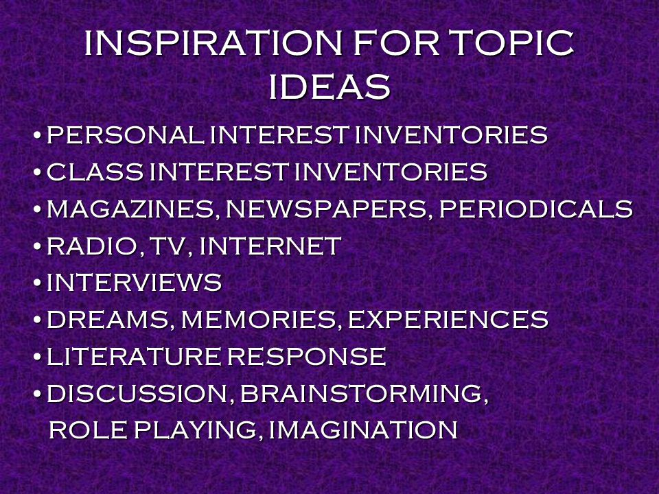 INSPIRATION FOR TOPIC IDEAS