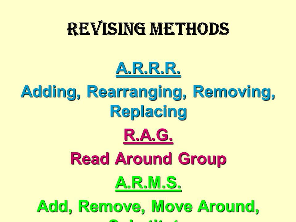 REVISING METHODS A.R.R.R. Adding, Rearranging, Removing, Replacing