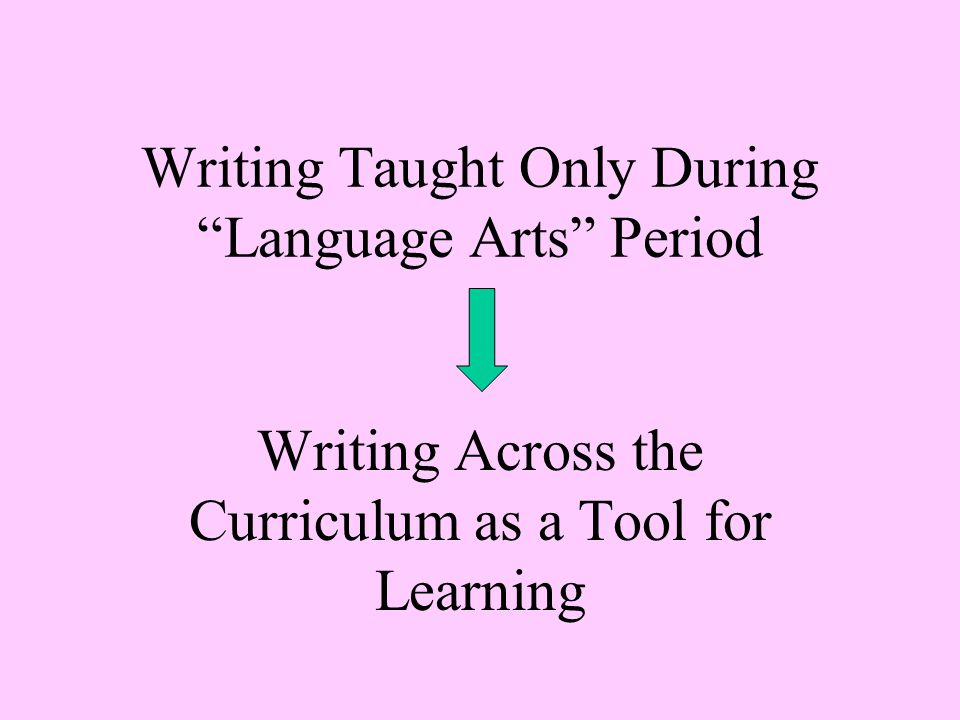 Writing Taught Only During Language Arts Period