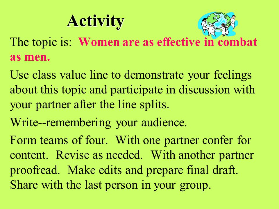 Activity The topic is: Women are as effective in combat as men.