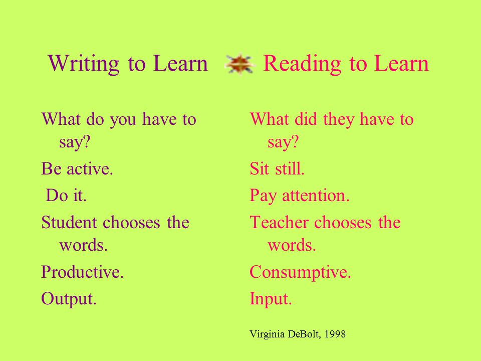 Writing to Learn Reading to Learn