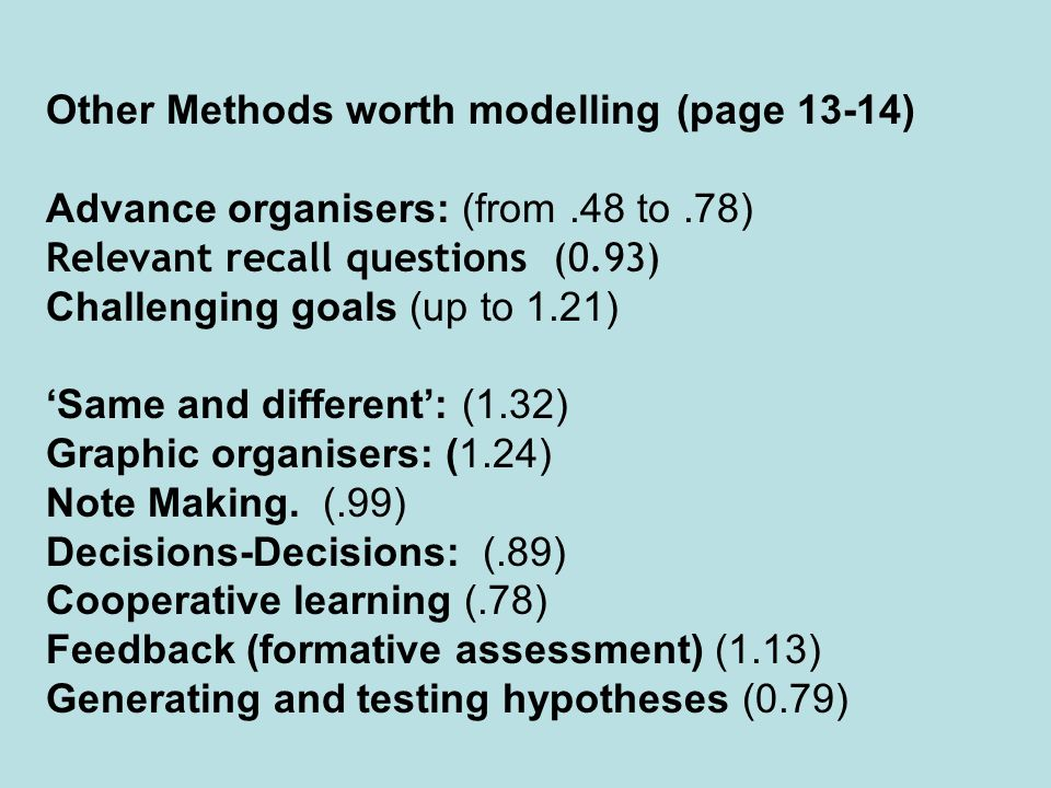 Other Methods worth modelling (page 13-14)