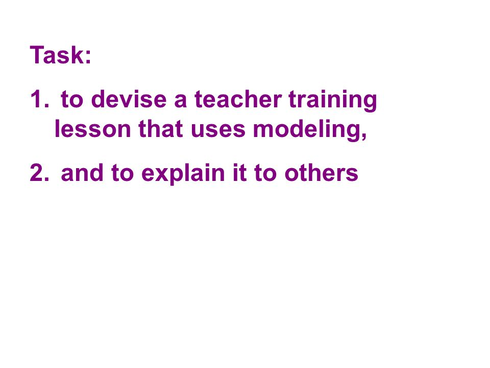 Task: to devise a teacher training lesson that uses modeling, and to explain it to others