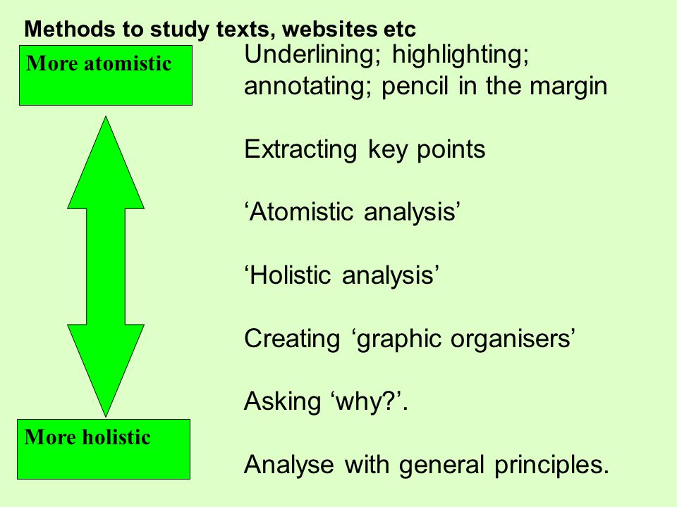 Underlining; highlighting; annotating; pencil in the margin