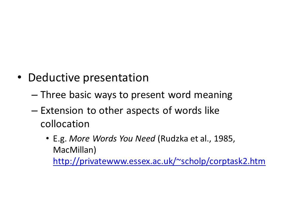 Deductive presentation