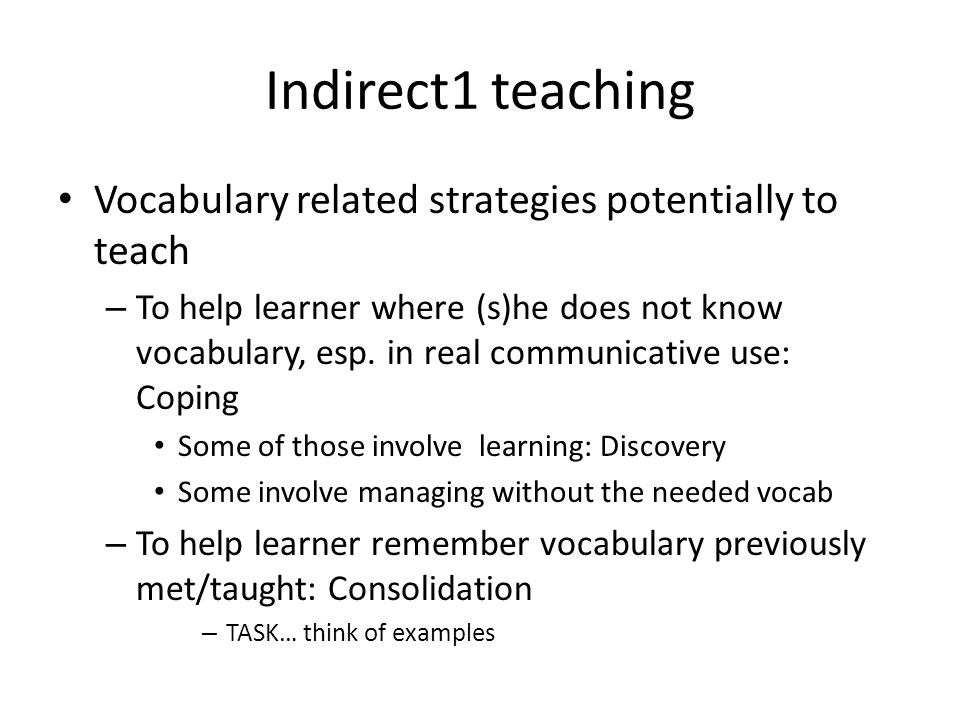 Indirect1 teaching Vocabulary related strategies potentially to teach
