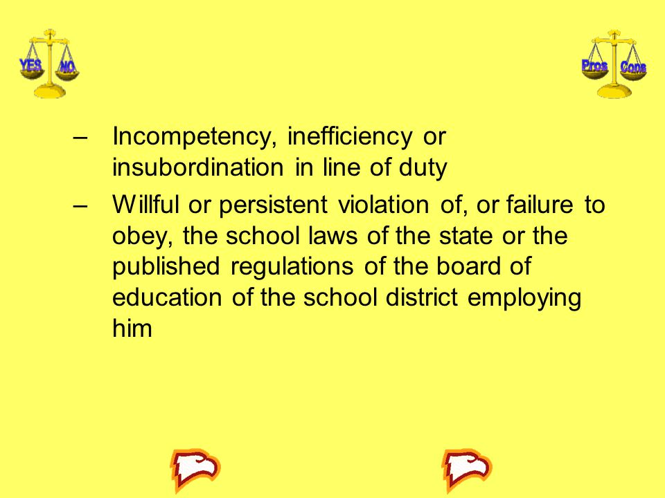 Incompetency, inefficiency or insubordination in line of duty