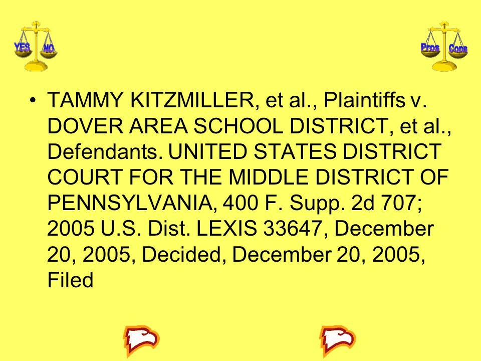 TAMMY KITZMILLER, et al. , Plaintiffs v