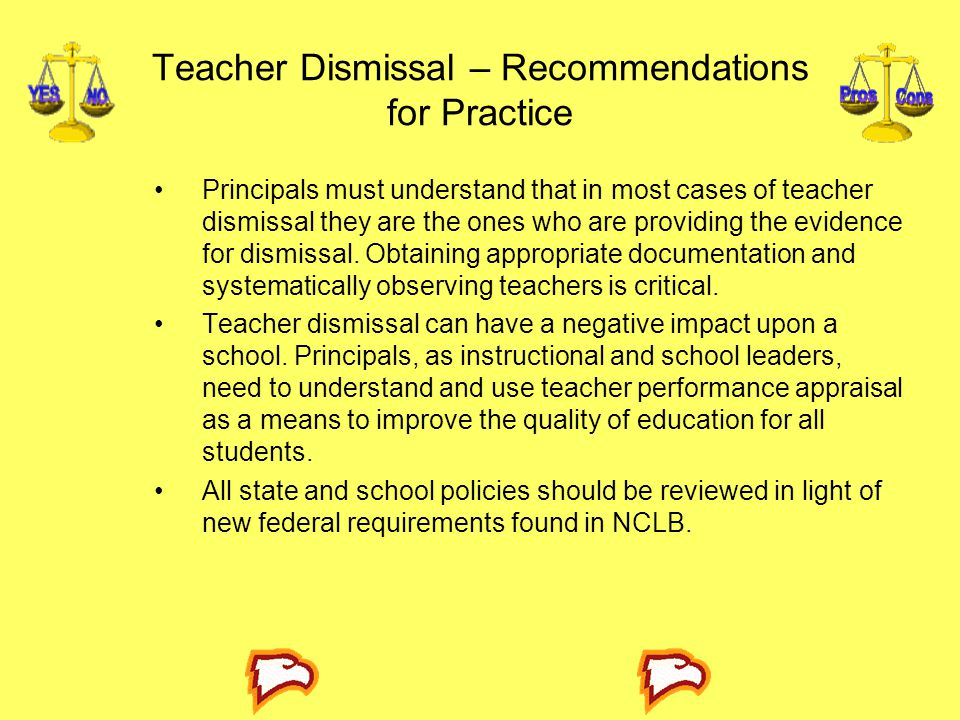 Teacher Dismissal – Recommendations for Practice