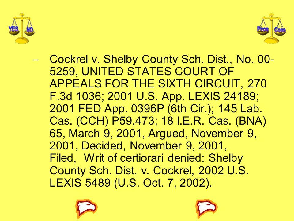 Cockrel v. Shelby County Sch. Dist. , No