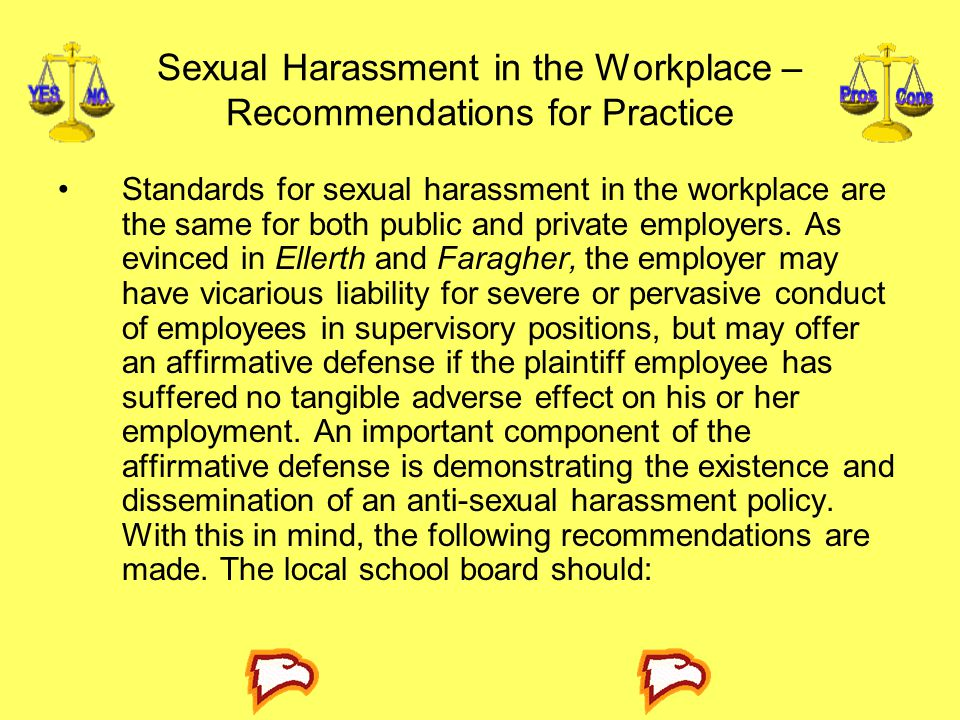 Sexual Harassment in the Workplace – Recommendations for Practice