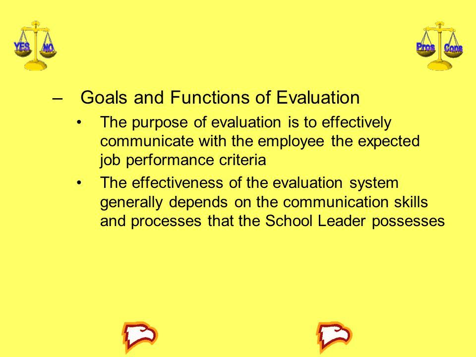 Goals and Functions of Evaluation