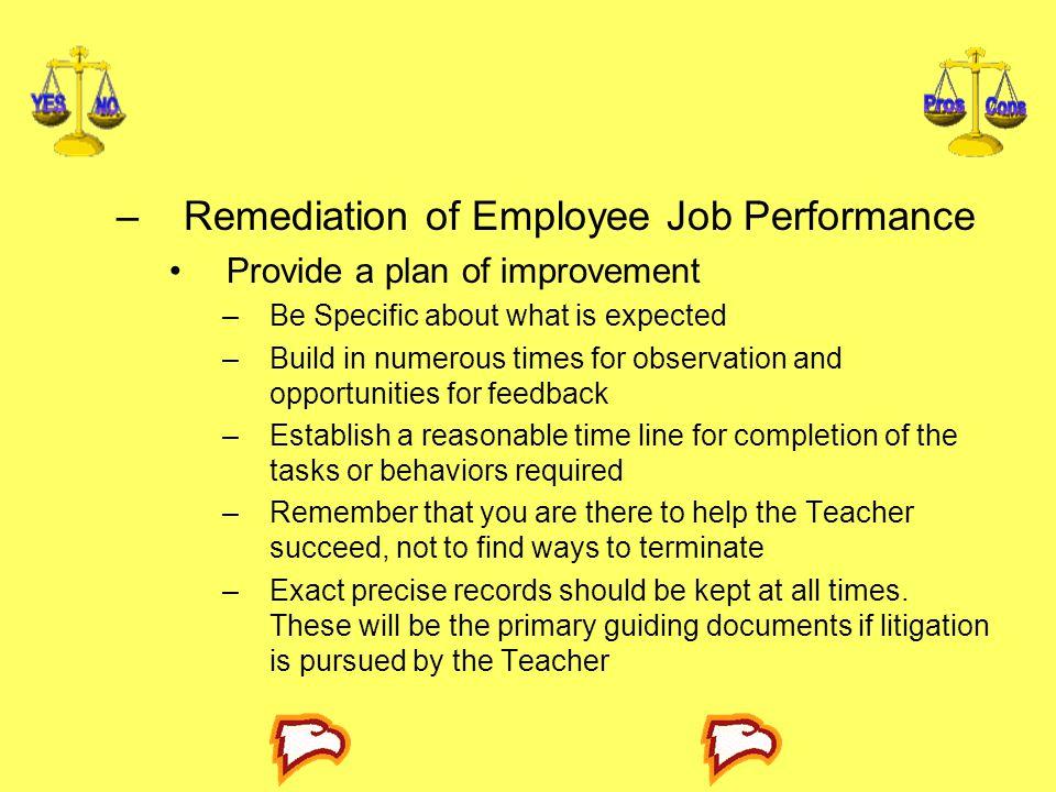 Remediation of Employee Job Performance