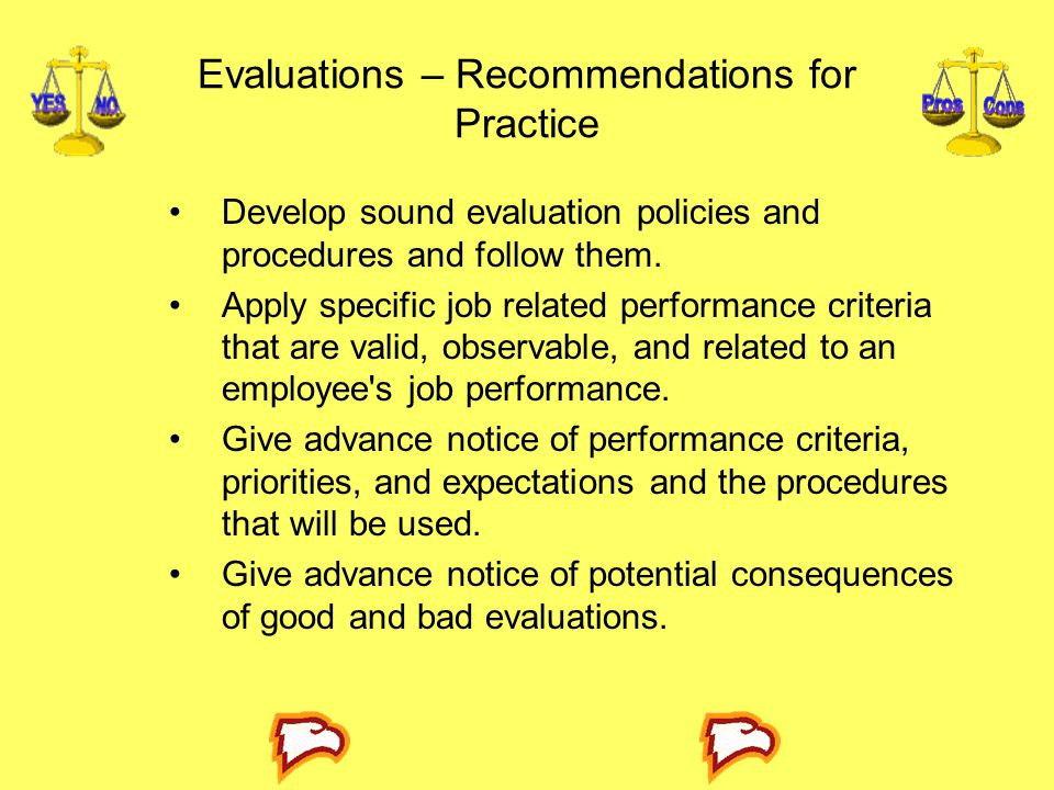 Evaluations – Recommendations for Practice
