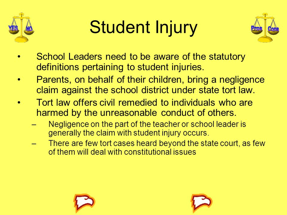 Student Injury School Leaders need to be aware of the statutory definitions pertaining to student injuries.