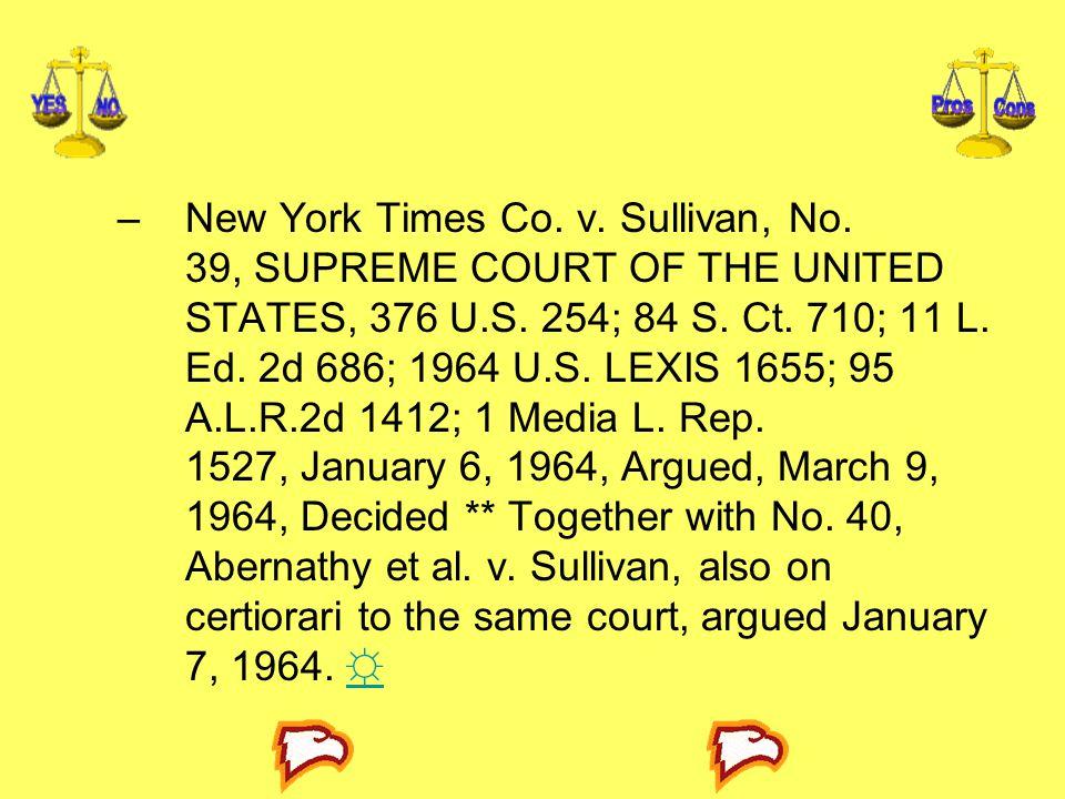 New York Times Co. v. Sullivan, No