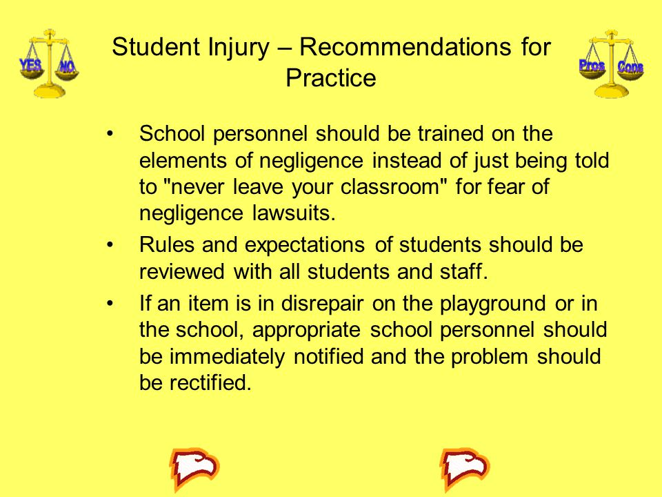 Student Injury – Recommendations for Practice