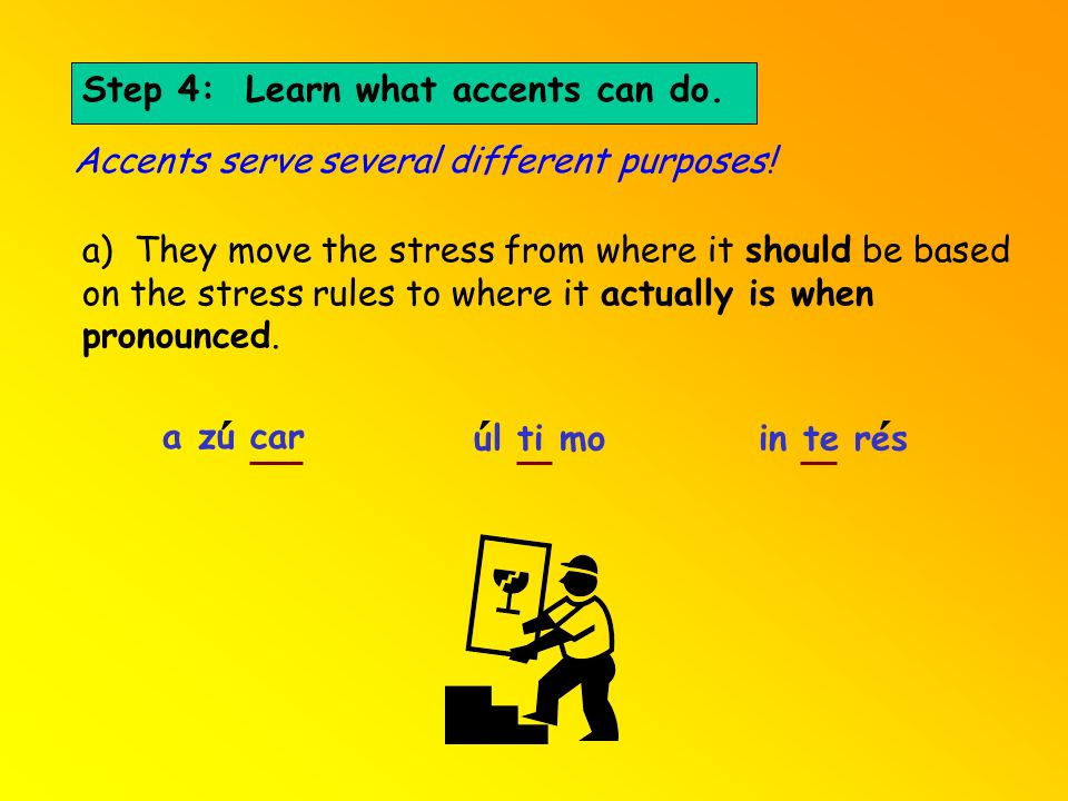 ´ ´ ´ Step 4: Learn what accents can do.