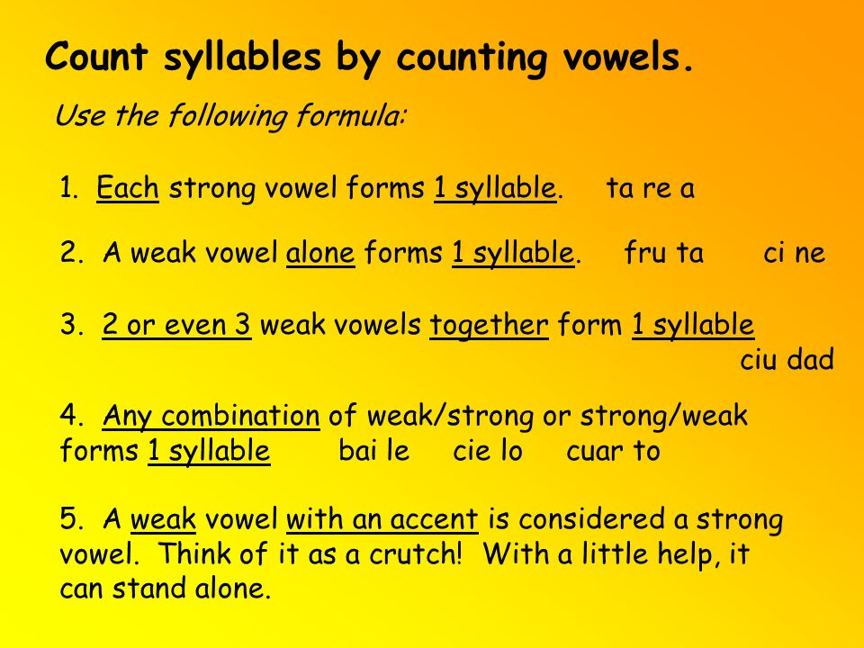 Count syllables by counting vowels.
