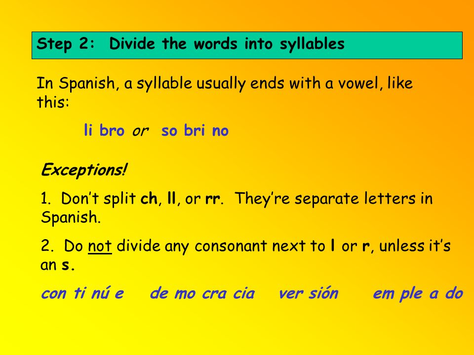 Step 2: Divide the words into syllables