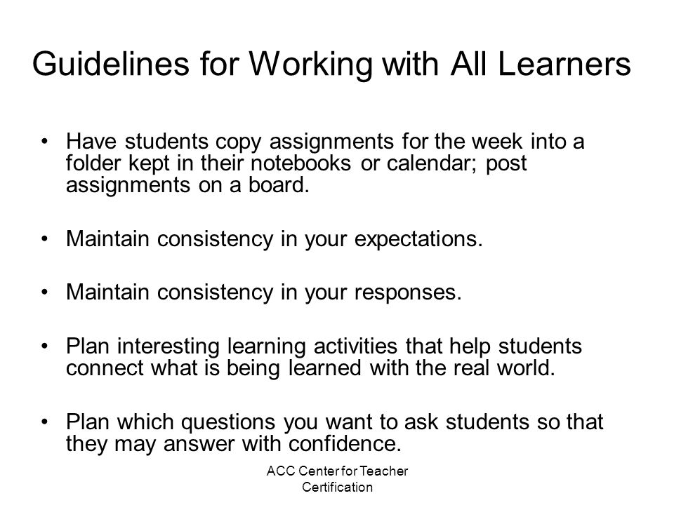 Guidelines for Working with All Learners
