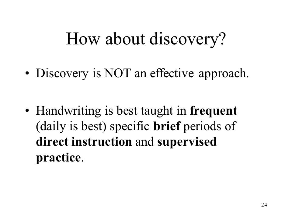 How about discovery Discovery is NOT an effective approach.