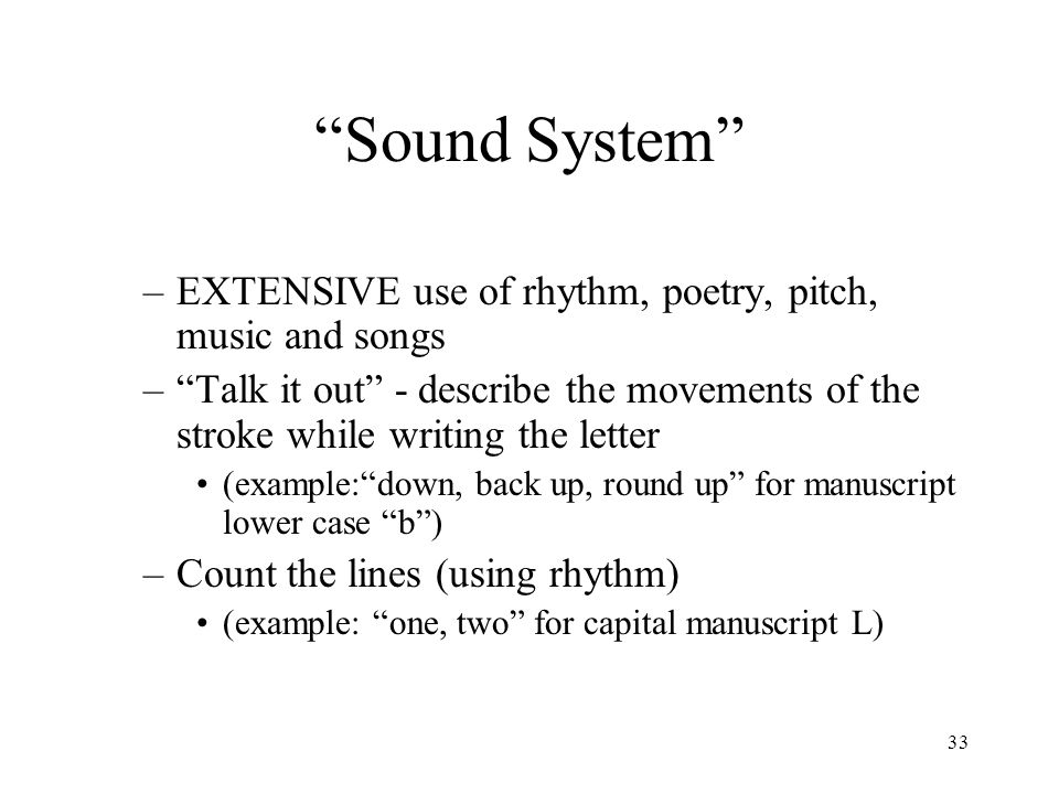 Sound System EXTENSIVE use of rhythm, poetry, pitch, music and songs